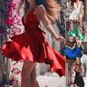Women Party Club Swing Flared Dress V Neck Sleeveless Strappy Mini Skater Dress
