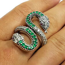 ART DECO STYLE NATURAL EMERALD & RUBY SNAKE RING 925 STERLING SILVER SIZE - 9