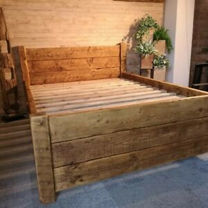 Rustic country cottage solid bed reclaimed timber