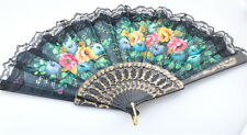 Vintage Folding Flower Floral Fabric Lace Dancing Wedding Party Hand Fan