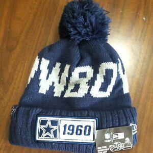 NEW Dallas Cowboys NFL New Era Pom Knit Fleece Lined Blue Beanie Hat