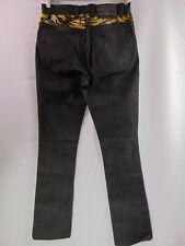 Guess Jeans Denim Leopard Tiger Print Faux Fur Black Denim Jeans Women's Size 26