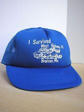 Vintage 80s I Survived West Highway 76 Branson, Mo. Snapback Mesh Trucker Hat