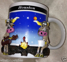 HOUSTON TEXAS SOUVENIR MUG RAISED LONGHORN COWS CATTLE STEER BY CAMPFIRE GUITAR