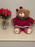 "2014 WalMART CHRISTMAS Snowflake TEDDY BEAR Girl 22"" Red Outfit Good new"