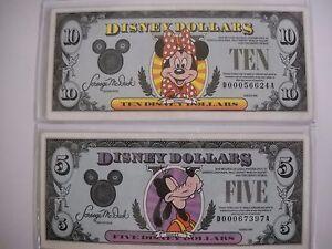 Disney Dollars 1990 1- $5.00 Dollar Bill  and 1-Ten Dollar Bill Has been folded