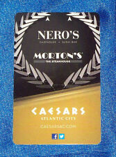 Caesars Casino Atlantic City Hotel Room Key Card Nero's Morton's