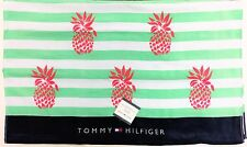 "TOMMY HILFIGER WHITE+NAVY BLUE,GREEN STRIPES PINK PINEAPPLE-BEACH TOWEL 35""x66"""