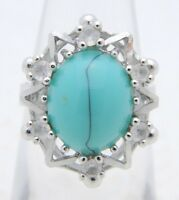 VTG UNCAS Sterling Silver .925 Clear Rhinestone Turquoise Glass Cabochon Ring 5