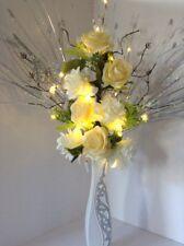 Artificial Silk Flower Arrangement White & Yellow Flowers Glitter Vase Lights Up