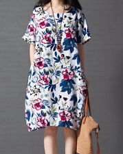 AU Seller - Vintage floral print half sleeve causal loose shift dress size 16-24