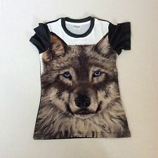 NEW LADIES T SHIRT PRINTED WITH WOLF ART SIZE SMALL