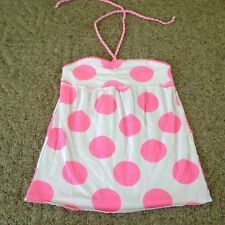 Girl's Justice halter top size 14 white florescent pink polka dots summer