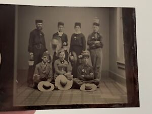 Unusual Antique Occupational Tintype Photograph - PAINTERS - BUCKETS ON HEADS