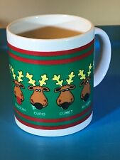 Houston Foods 1988 Vintage All Reindeer Names Coffee Cup / Mug Rudolph Dasher Gc