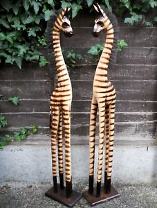 Wooden ZEBRAS with Mane Large 100 cm Medium 80 cm Small 60 cm  Brown Colour