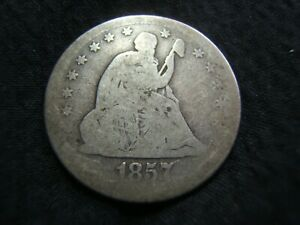 1857-O Silver seated Liberty Quarter G/VG  Affordable early Quarter!