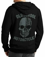 Herren Zip Hoodie Sweat-Jacke Kapuzen-Jacke winter Totenkopf Biker Motorrad