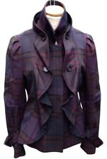 BCBG MAX AZRIA $500 RARE MYSTIC PURPLE PLAID WOOL RUFFLE JACKET COAT S NEW