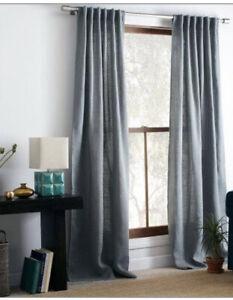 """1 West Elm Burlap Curtains 44x84"""" Green Drapes Panels Blue Sage - Damaged"""