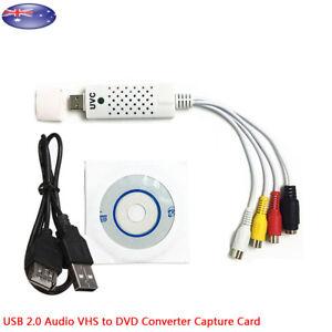 USB 2.0 Audio VHS RCA to DVD Converter Capture Card Analog Video to Digital AU