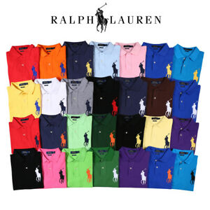 Men's Custom Slim Fit Big Pony Mesh Polo Shirt Short sleeve Tops T-Shirt