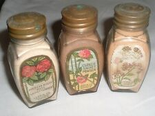 3 Vintage Antique FULL JARS bottles LARKIN Co Sachet Powder Flowers labels