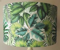 Palm Leaf Lampshade, vintage , shabby chic, jungle,green white,  FREE GIFT