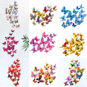 12PCS Dual-Wing 3D Butterfly DIY Magnet Wall Sticker Home Decal Room Mural Decor