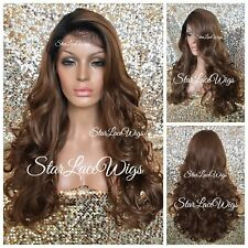 Long Curly Lace Front Wig Human Hair Blend #30 Auburn #1b Roots Heat Safe Ok
