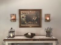 Set Of 2 Farmhouse Style Wood Wall Sconce Candle Holders | Rustic Candle Holder