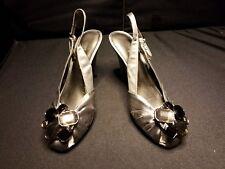 "NWOB~ Nine West ~Women's 5.5M Gray Satin Shoe Slingbacks Jewels at Toe 3.5"" PUMP"