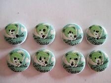 8 x 15mm GREEN TEDDY BEAR Design Wooden Buttons - 2 Holes - No.986