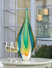 Turquoise blue green gold modern art Glass Sculpture statue object trophy award