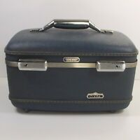 American Tourister Tiara Train Case Blue Vintage Luggage Mirror Tray