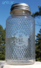 Antique OLD JUDGE coffee jar w/ pic of OWL !  Evans COFFEE Co. ST Louis MISSOURI