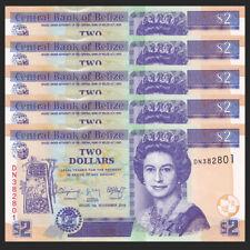Lot 5 PCS, Belize 2 Dollars, 2014, P-66e, UNC