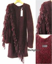 NWT AUTHENTIC DIESEL WOMEN'S BURGUNDY MOHAIR WOOL FRINGE KNIT DRESS Sz-S $378