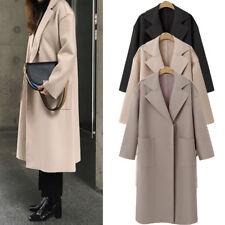 UK STOCK Women Long Warm Wool Coat Lapel Parka Jacket Cardigan Overcoat Outwear