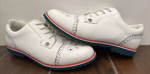G/Fore Gallivanter Golf Shoes Snow White Leather Drawn On Wingtip Size 7.5