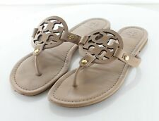 E58 $198 Women's Sz 9 M Tory Burch Miller Leather Logo Flat Sandals