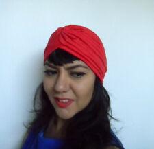 Bonnet turban rouge extensible rétro pinup original mi-saison