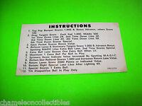 MAGIC By STERN 1979 ORIGINAL PINBALL MACHINE 2-SIDED INSTRUCTION CARD