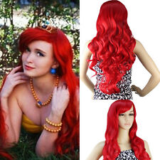 """32"""" Full Curly Wig Cosplay The Little Mermaid Red Hair Wavy Long Wig US Ship"""