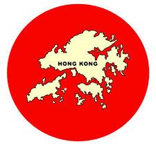 HONG KONG MAPPA - ROTONDO NEGOZIO DI Souvenir Magnete del frigorifero - NUOVO -