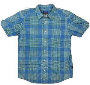 Blue Green Plaid Check Short Sleeve Patagonia Organic Cotton Blend Mens Shirt M