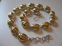 Monet Egyptian Revival Bicolor Gold Silver Tone Metallic Scarab Link Neckace