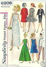 "Simplicity Sewing Pattern 6208 Barbie 11 1/2"" Doll 1960's Wardrobe Dress Coat"