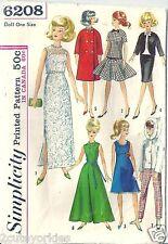 "Simplicity Sewing Pattern 6208 Barbie 11 1/2"" Doll 1960's Wardrobe Dress Coat"