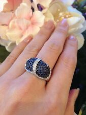 Estate 3.60 ctw Sapphire & Diamond Dome Cocktail Ring in 18K White Gold - HM972